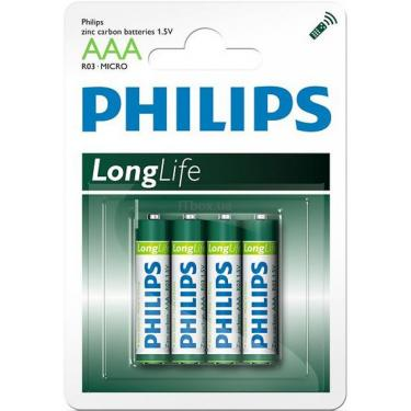 Батарейка PHILIPS R03 PHILIPS LongLife L4B* 4 Фото
