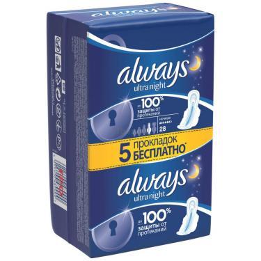 Гигиенические прокладки Always Ultra Night 28 шт Фото 1