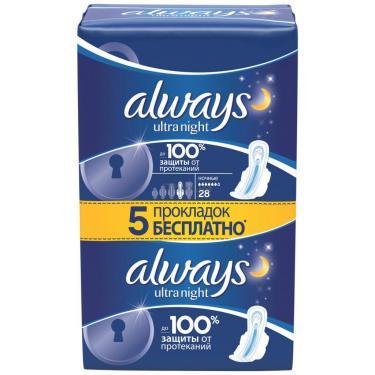 Гигиенические прокладки Always Ultra Night 28 шт Фото