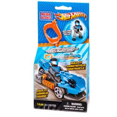 Конструктор Mega Bloks Набор с мехускорителем Синий гоночный автомобиль Фото 1