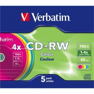 Диск CD Verbatim 700Mb 4X SlimBox 5шт Color/SERL Фото