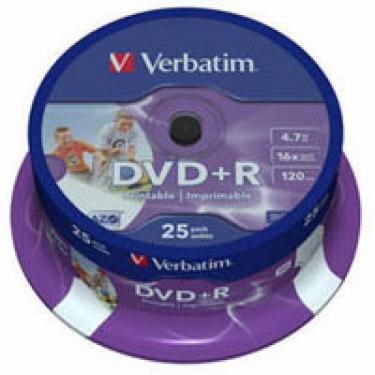Диск DVD Verbatim 4.7Gb 16X CakeBox 25шт Printable Фото 1