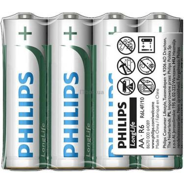 Батарейка PHILIPS R6 PHILIPS Longlife L4F * 4 Фото