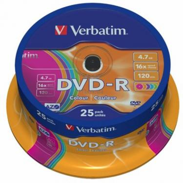 Диск DVD Verbatim 4.7Gb 16X CakeBox 25шт COLOUR Фото