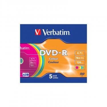 Диск DVD Verbatim 4.7Gb 16X Slim case 5 шт Color Фото 2