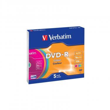 Диск DVD Verbatim 4.7Gb 16X Slim case 5 шт Color Фото 1